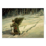 Vintage Christmas, Santa Claus Carrying a Tree Cards
