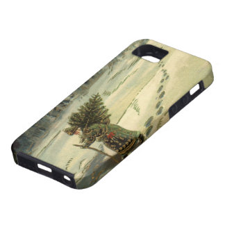 Vintage Christmas, Santa Claus Carrying a Tree iPhone 5 Cases