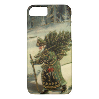 Vintage Christmas, Santa Claus Carrying a Tree iPhone 8/7 Case