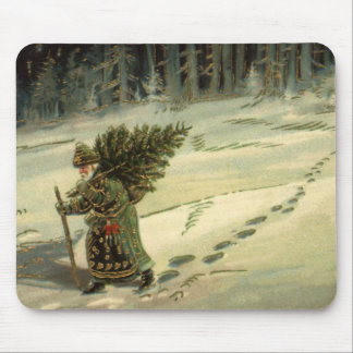 Vintage Christmas, Santa Claus Carrying a Tree Mouse Pad
