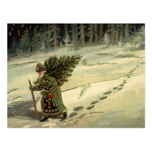 Vintage Christmas, Santa Claus Carrying a Tree Postcard