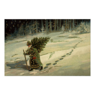 Vintage Christmas, Santa Claus Carrying a Tree Poster