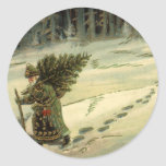 Vintage Christmas, Santa Claus Carrying a Tree Round Stickers