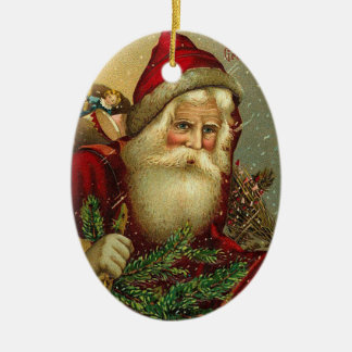 Vintage Christmas Santa Claus Ceramic Ornament