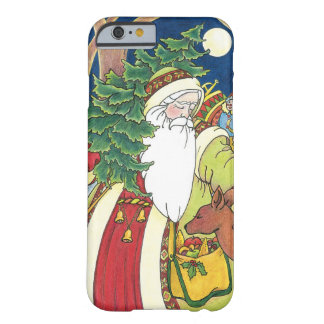 Vintage Christmas, Santa Claus Deer in Forest Barely There iPhone 6 Case