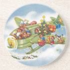 Vintage Christmas, Santa Claus Flying an Airplane Coaster