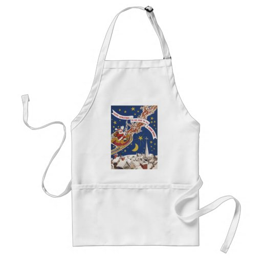 Vintage Christmas, Santa Claus Flying His Sleigh Aprons