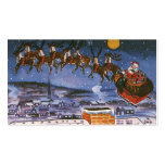 Vintage Christmas Santa Claus Flying His Sleigh Double-Sided Standard Business Cards (Pack Of 100)