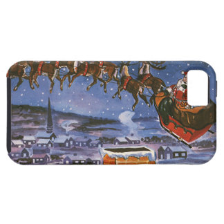Vintage Christmas Santa Claus Flying His Sleigh iPhone 5 Covers