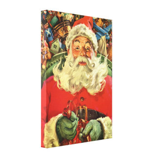 Vintage Christmas Santa Claus Flying Sleigh Toys Canvas Prints