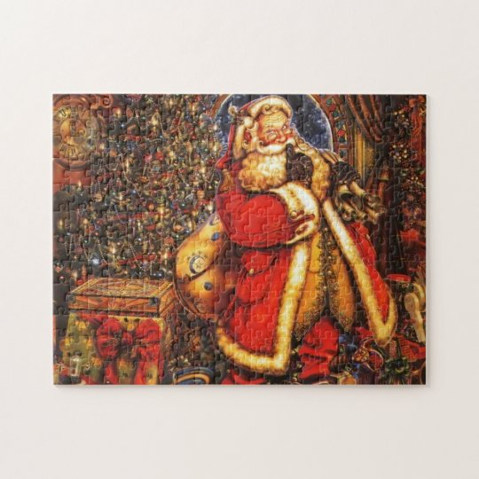 Vintage Christmas Santa Claus happy holiday gift. Jigsaw Puzzle