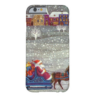 Vintage Christmas, Santa Claus Horse Open Sleigh Barely There iPhone 6 Case