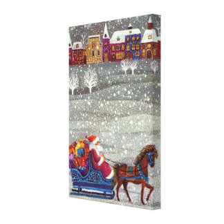 Vintage Christmas Santa Claus Horse Open Sleigh Gallery Wrapped Canvas