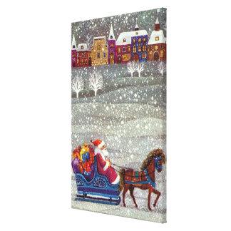 Vintage Christmas, Santa Claus Horse Open Sleigh Canvas Print
