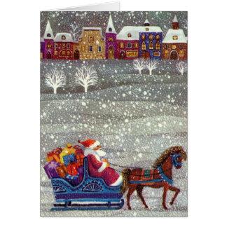 Vintage Christmas, Santa Claus Horse Open Sleigh Greeting Card