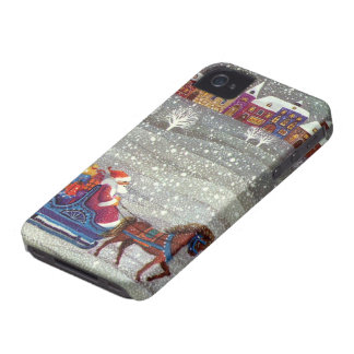 Vintage Christmas, Santa Claus Horse Open Sleigh iPhone 4 Cover
