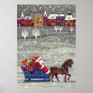 Vintage Christmas, Santa Claus Horse Open Sleigh Poster