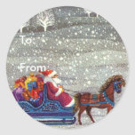 Vintage Christmas, Santa Claus Horse Open Sleigh Stickers