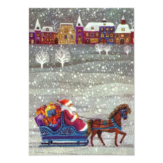 Vintage Christmas Santa Claus in Sleigh Invitation