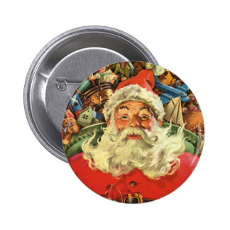 Vintage Christmas, Santa Claus in Sleigh with Toys 2 Inch Round Button
