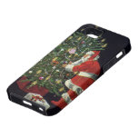 Vintage Christmas, Santa Claus Lit Candles on Tree iPhone 5 Cases