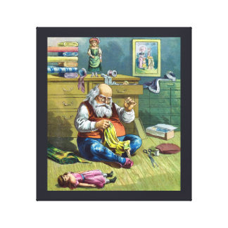 Vintage Christmas, Santa Claus Making Toy Dolls Stretched Canvas Print