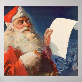 Vintage Christmas, Santa Claus Naughty Nice List Poster