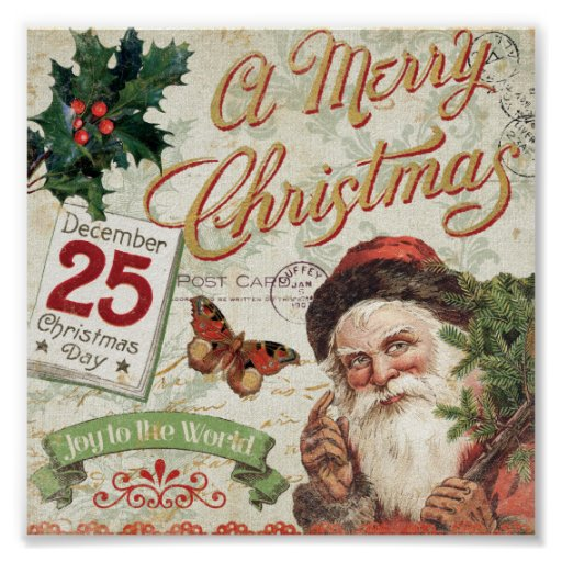 Vintage Christmas Santa Claus Posters
