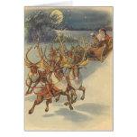 Vintage Christmas Santa Claus Reindeer Sleigh Toys Greeting Card