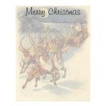 Vintage Christmas Santa Claus Reindeer Sleigh Toys Customized Letterhead