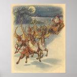 Vintage Christmas Santa Claus Reindeer Sleigh Toys Print