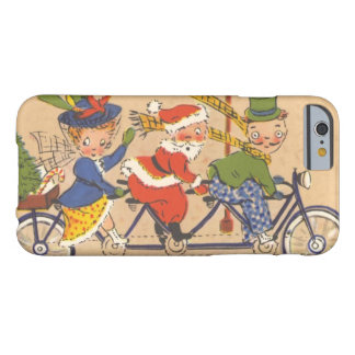 Vintage Christmas, Santa Claus Riding a Bicycle Barely There iPhone 6 Case