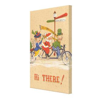 Vintage Christmas, Santa Claus Riding a Bicycle Canvas Print