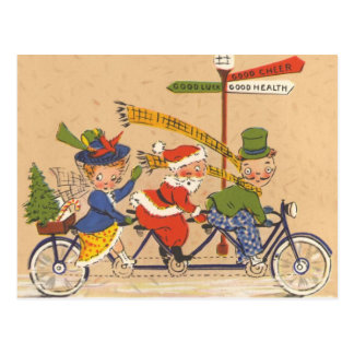 Vintage Christmas, Santa Claus Riding a Bicycle Postcard