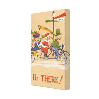 Vintage Christmas Santa Claus Riding a Bike Gallery Wrapped Canvas