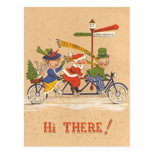 Vintage Christmas, Santa Claus Riding a Bike Post Card