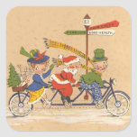 Vintage Christmas, Santa Claus Riding a Bike Square Stickers