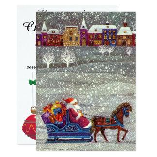 Vintage Christmas, Santa Claus Sleigh Invitation