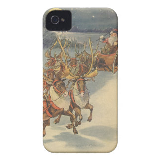 Vintage Christmas Santa Claus Sleigh with Reindeer Case-Mate iPhone 4 Case