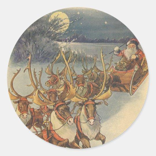 Vintage Christmas Santa Claus Sleigh with Reindeer Classic Round Sticker