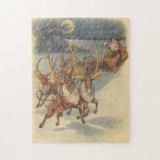 Vintage Christmas Santa Claus Sleigh with Reindeer Jigsaw Puzzle