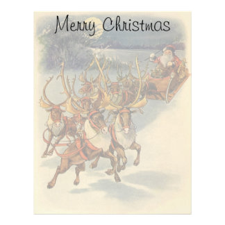 Vintage Christmas Santa Claus Sleigh with Reindeer Letterhead Design
