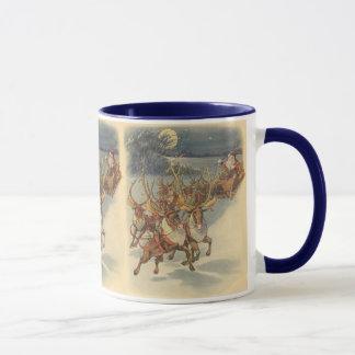 Vintage Christmas Santa Claus Sleigh with Reindeer Mug