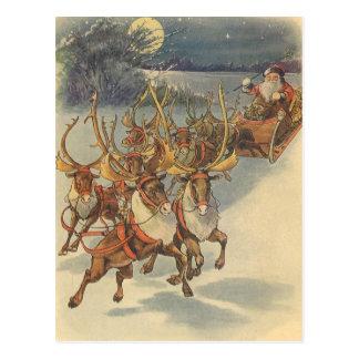 Vintage Christmas Santa Claus Sleigh with Reindeer Postcard