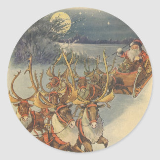 Vintage Christmas Santa Claus Sleigh with Reindeer Round Sticker