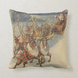 Vintage Christmas Santa Claus Sleigh with Reindeer Throw Pillows