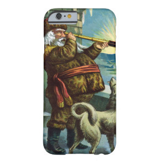 Vintage Christmas Santa Claus Telescope Dog Sunset Barely There iPhone 6 Case