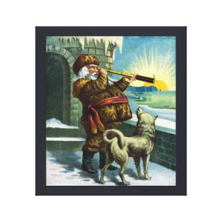Vintage Christmas Santa Claus Telescope Dog Sunset Gallery Wrapped Canvas