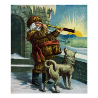 Vintage Christmas Santa Claus Telescope Dog Sunset Poster
