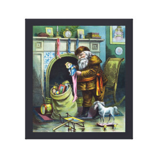Vintage Christmas, Santa Claus Toys and Stockings Gallery Wrap Canvas